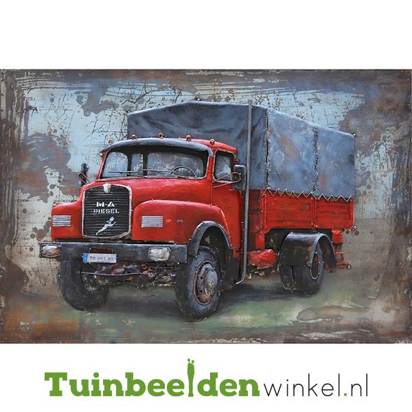 """Metalen schilderij """"De rode vrachtauto"""" TBW000742"""