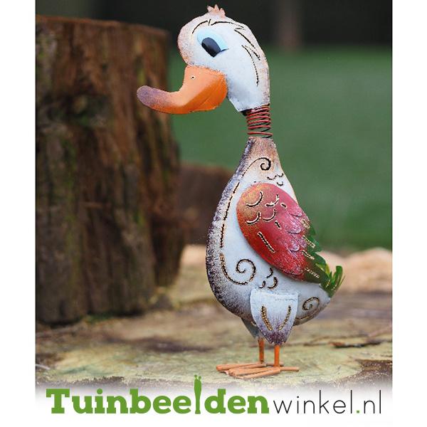 Metalen tuinbeeld figuur ''De jolige eend'' TBW16043