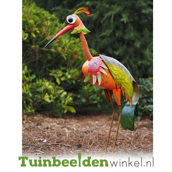 Metalen tuinbeeld figuur ''De zeldzame vogel'' TBW16029