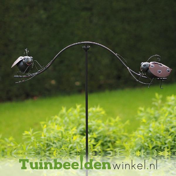 """Metalen tuinbeeld figuur """"De twee lieveheersbeestjes"""" TBW14053me"""