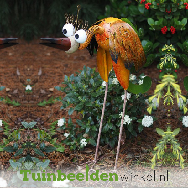 """Metalen tuinbeeld figuur """"De verbaasde vogel"""" TBW16026me"""