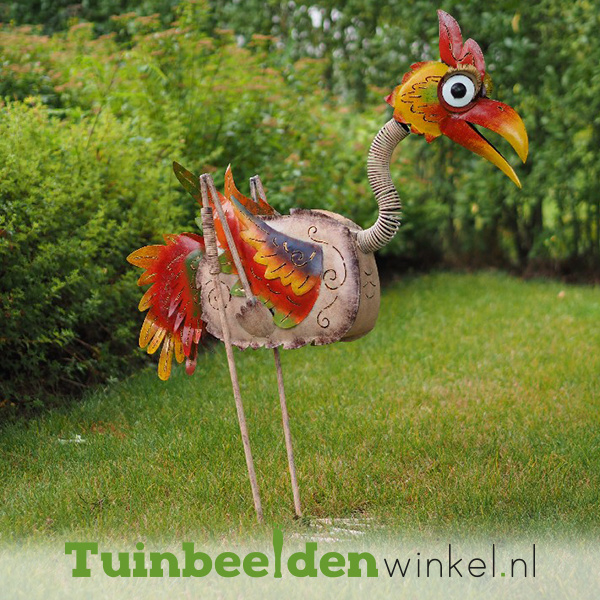 """Metalen tuinbeeld figuur """"De zeldzame vogel"""" TBW16031me"""
