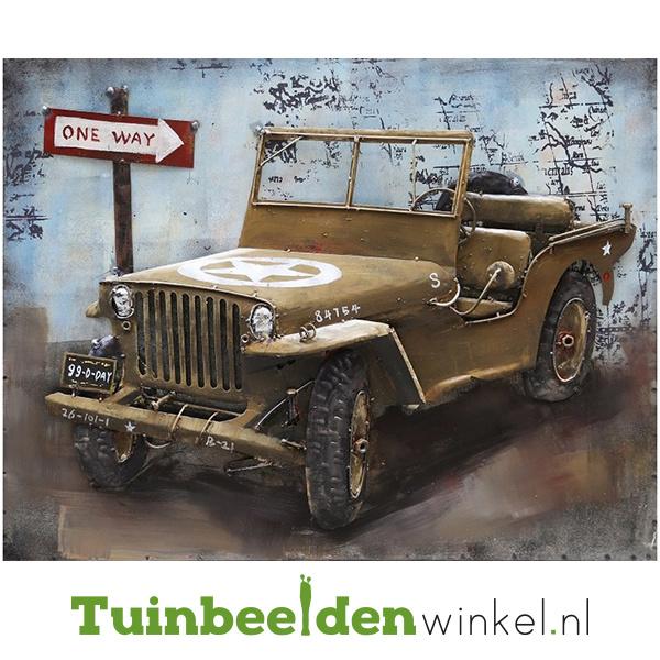 """Metalen schilderij """"De bruine Jeep"""" TBW000661"""