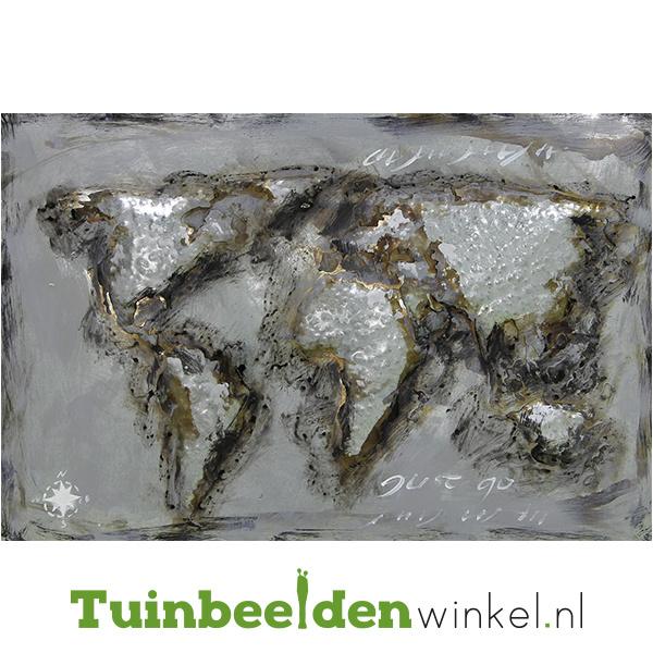 """Metalen schilderij """"De grijze wereldkaart"""" TBW80120037sc"""