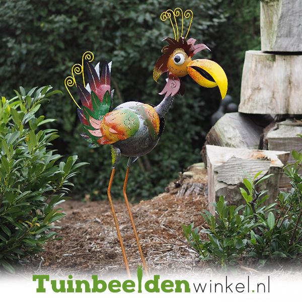 Metalen tuinbeeld figuur ''De ijdele vogel'' TBW16126