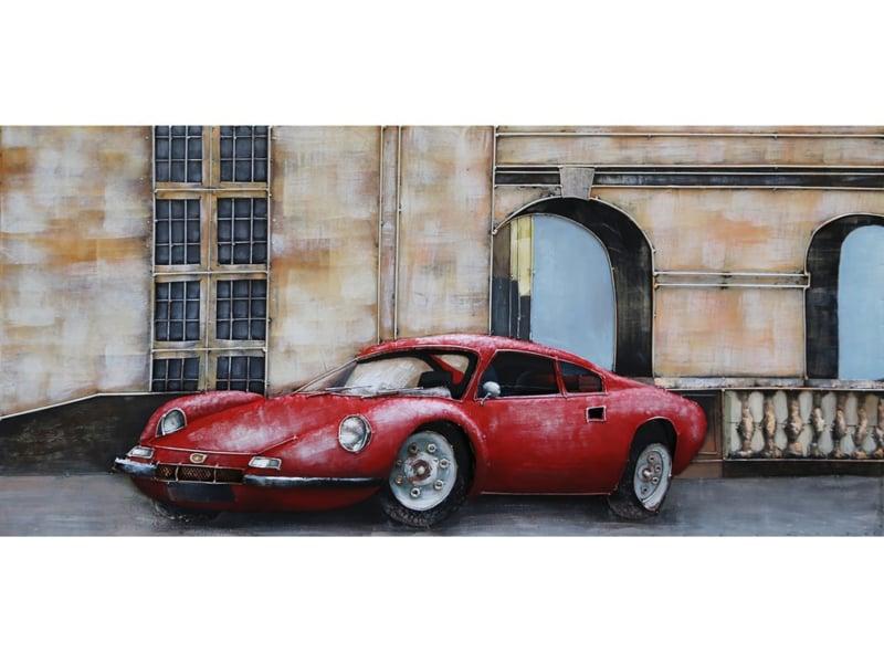 """Metalen schilderij """"Rode Porsche"""" TBW001837sc"""