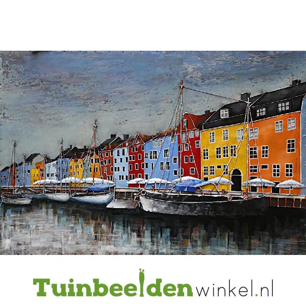 Metalen schilderij ''De haven'' TBW001626