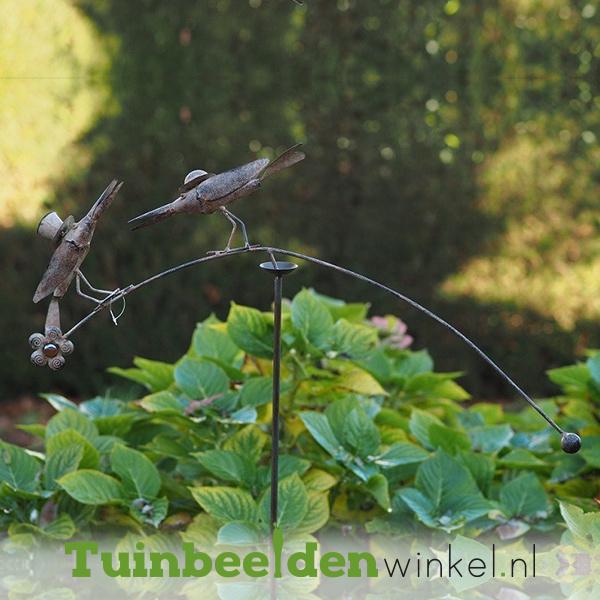 """Metalen tuinbeeld figuur """"De charmante vogeltjes"""" TBW19436me"""