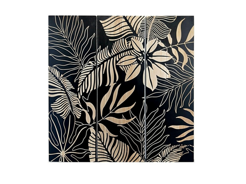 Olieverf schilderij bloemen ''Black leaves'' TBW26003sc