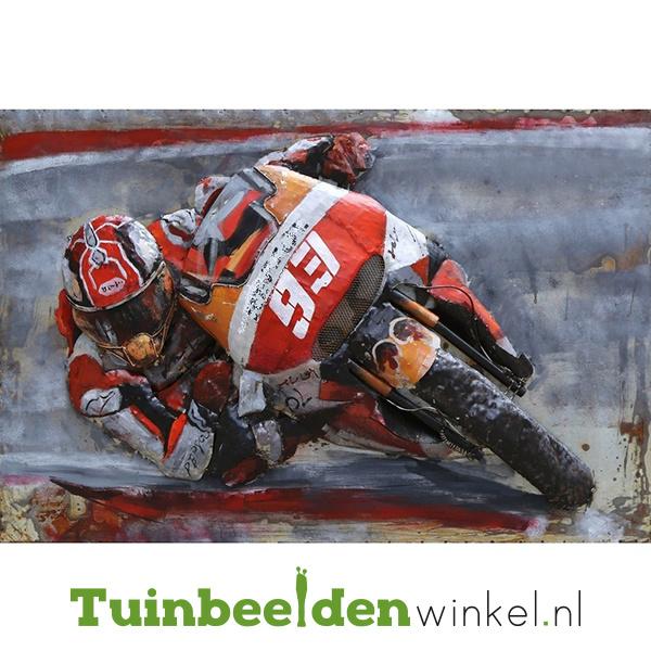 """Metalen schilderij """"Motorrijder nr 93"""" TBW000886"""