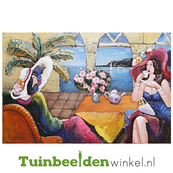 """Metalen schilderij """"Het theekransje"""" TBW001443"""