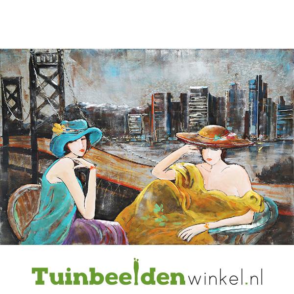 """Metalen schilderij """"De stijlvolle dames"""" TBW001181"""