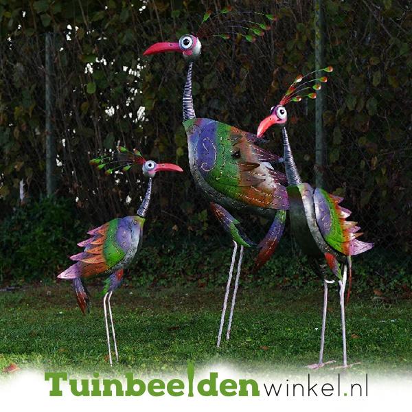 Metalen tuinbeeld figuur ''De drie pauwen'' TBW16100-101-102