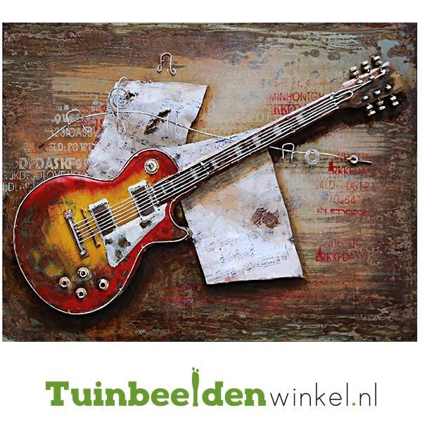 """Metalen schilderij """"De elektrische gitaar"""" TBW001039"""