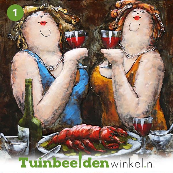 """NR 1   Metalen schilderij """"Dikke dames"""" TBW001028"""