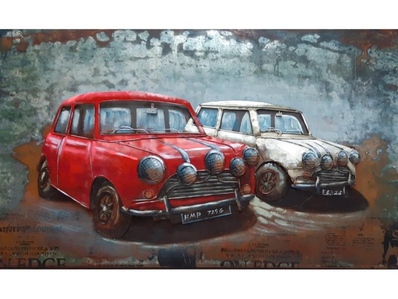 """Metalen schilderij """"Oude auto's"""" TBW001807sc"""