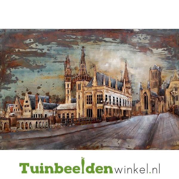 Metalen schilderij ''Mooi stadsaanzicht'' TBW000799-S