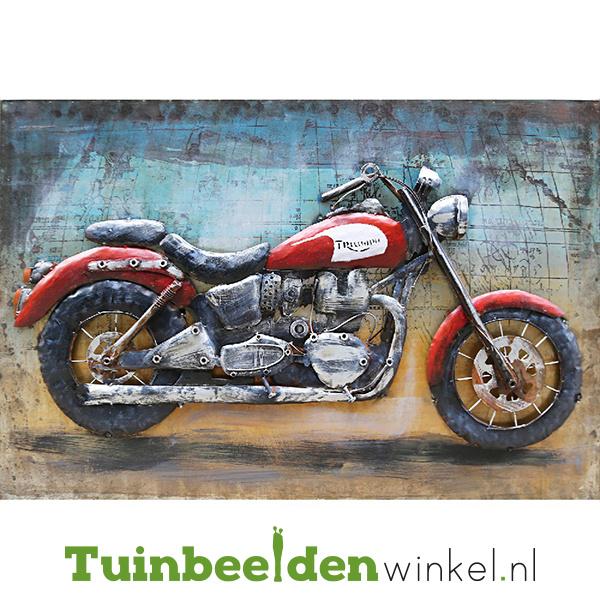 Metalen schilderij ''De rode motor'' TBW000803