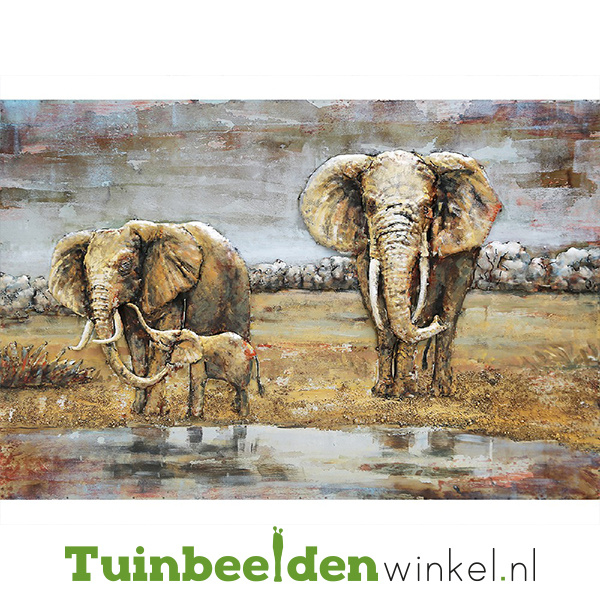 Metalen schilderij ''De immense olifanten'' TBW001432