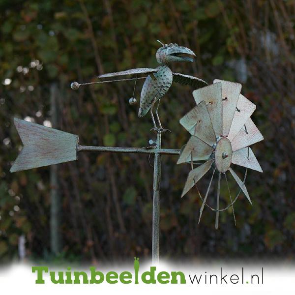 Metalen tuinbeeld figuur ''De intelligente kraai'' TBW17464