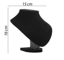 Ketting display fluweel zwart 16 cm