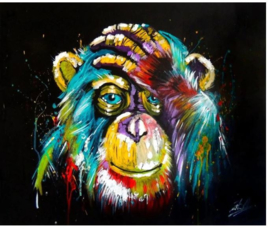 Diamond Painting - hobbypakket - Chimpansee - 20x30 cm