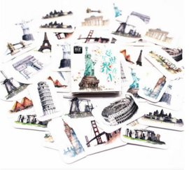 40 stuks scrapbokking stickers bekende gebouwen 4x4 cm