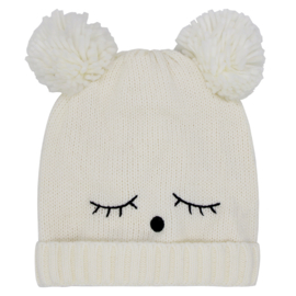 Warme winter muts Teddy ecru met oortjes