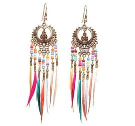Lange oorbellen met veren multicolor
