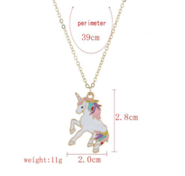 Ketting goudkleur met hangertje Unicor - eenhoorn