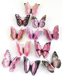 3d muurstickers vlinders 12 stuks roze