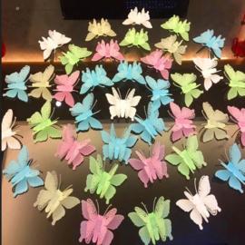 10 stuks 3d glow in the dark vlinders 7x8cm