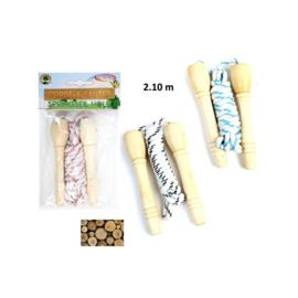 Springtouw met houten handvaten - GRATIS bij een bestelling vanaf 20 euro