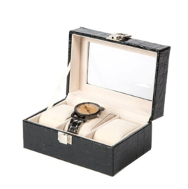 Luxe imitatie leren horloge koffer 3 vakken
