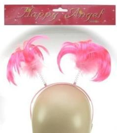 Diadeem met roze pluimpjes - GRATIS bij een bestelling vanaf 10 euro