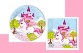8 stuks kartonnen borden + 20 servetten unicorn