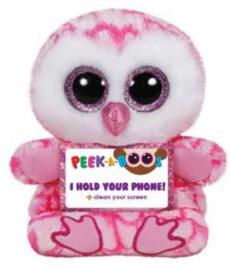 TY Pluche Uil met Glitter ogen Smartphonehouder Milly 15cm