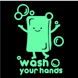 Glow in the Dark sticker zeep - wash your hands 15x10 cm