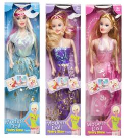 3 stuks fashion poppen blauw - roze - paars 33 cm