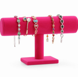Armbanden display roze 1 rol fluweel