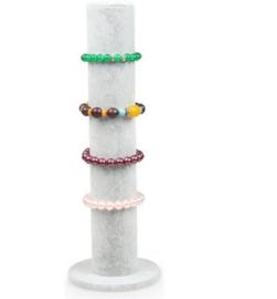 Armbanden display grijs velours staand 1 rol 10.5 x 32 cm