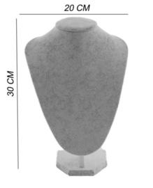 Display hals 30 cm fluweel grijs