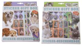 2 stuks geschenkdozen stickers honden en katten (160 stickers)