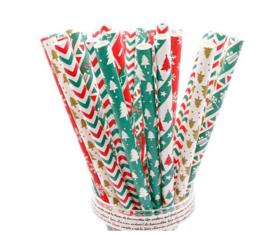 25 stuks papieren rietjes kerst motief