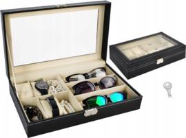2-In-1 Horlogedoos & Brillen Display - Horloge/Zonnebrillen Opbergbox