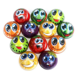 6 stuks foam ballen fruit - smiley 6.3 cm