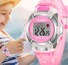 Digitale kinderhorloge roze met led display