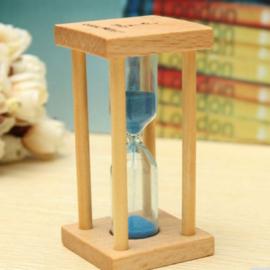 3 stuks houten zandlopers 1min / 3min / 5 min