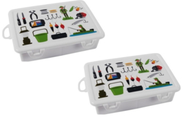 2 stuks kleine opbergdoosjes voor hengelsport benodigdheden 17,5 x 11,2 cm