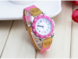 Kinderhorloge roze met smiley